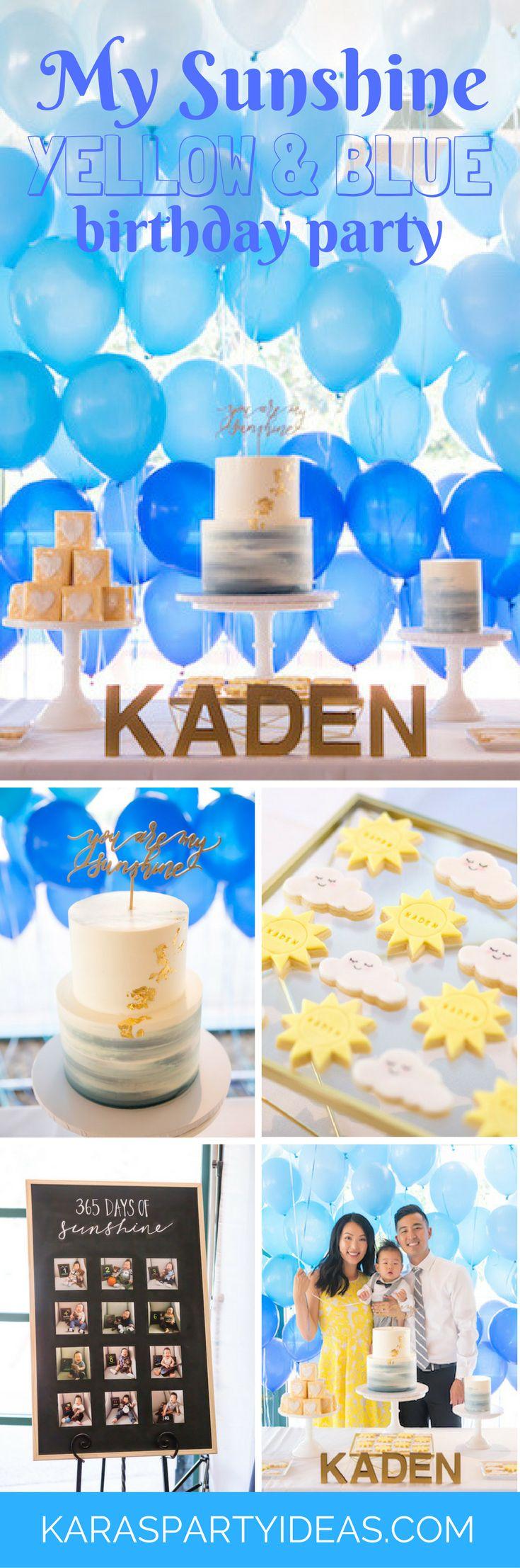 My Sunshine Yellow and Blue Birthday Party - Karas Party Ideas via KarasPartyIdeas.com