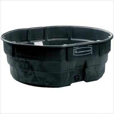 The #Rubbermaid #Commercial Stock Tank, 150 gallon, has a sleek appearance and smooth black color. This 150 gallon stock tank features an easy-to-use drain and se...