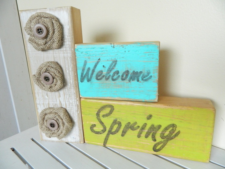 Welcome Spring Home Decor for Spring with Burlap flowers. via Etsy.