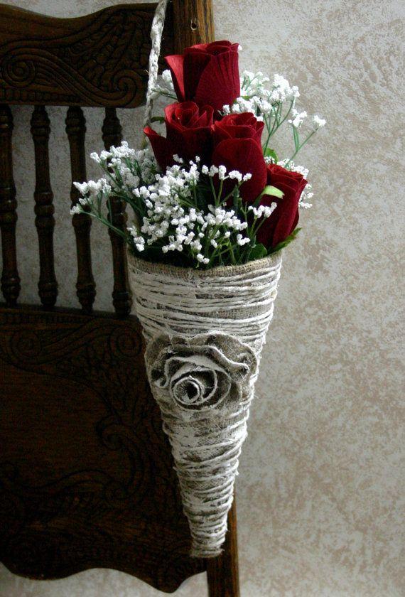 Burlap wedding cones Wedding cones for aisle and by Bannerbanquet, $15.50