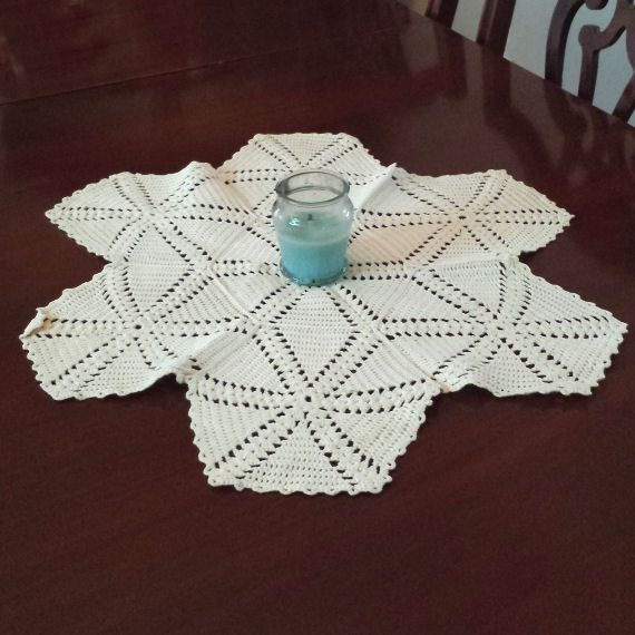 19 Inch White vintage Crocheted Lace Doily, Crochet Table Linen Centerpiece. For Sale by DanushasCollectibles vintage Etsy shop.