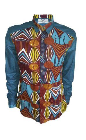 Front print block Men's African print shirt