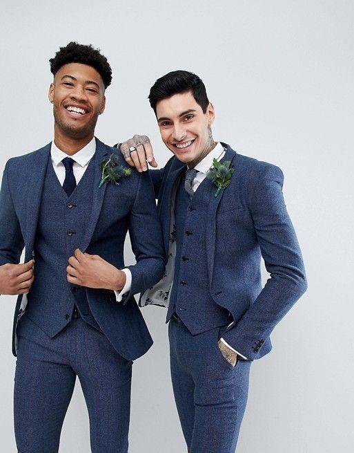 e1a9f8f71d4427 ASOS | ASOS Wedding Super Skinny Suit Vest in Petrol Blue Herringbone