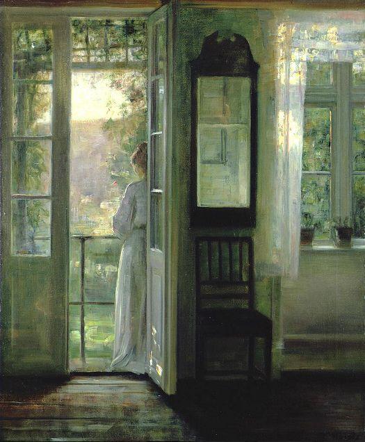 Holsoe, Carl (Danish, 1863-1935) - Girl standing on a Balcony
