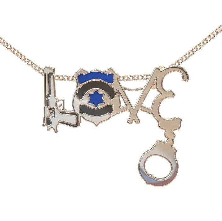 Limited Edition Police LOVE Necklace - 0.925 Sterling Silver