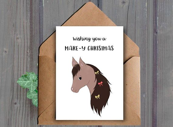 Wishing you a mare-y Christmas A printable Christmas card featuring a horse/mare  This listing is for a DIGITAL DOWNLOAD of the above card. (No physical item will be shipped to you)  *Golden elements of the card will not print shiny  ★ WHAT YOU WILL RECEIVE: ★ You will receive the following two files (one JPEG and one PDF):  -One high resolution (300 dpi) 8.5x11 inch JPEG file that cuts to 10x7 inches and 5x7 inches when folded (fits into an A7 envelope)  -One high resolution (300 dpi) 8...
