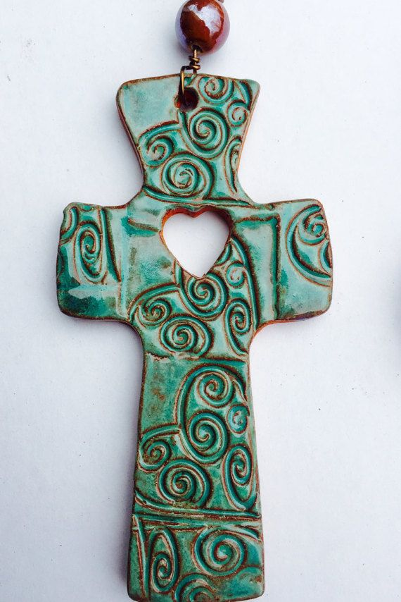 Ceramic Crosses with wire wrapping by SaltySeaCeramic on Etsy