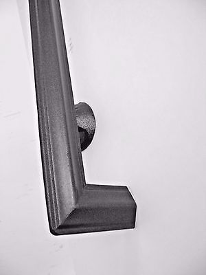 2 ft HANDRAIL CODE COMPLIANT WROUGHT IRON HAND RAILING 1-2 STEP PAINTED BLACK