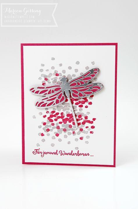 """Mit dem Produktpaket """"Li(e)belleien"""" aus dem Stampin' Up Frühjahrs-Sommerkatalog habe ich diese Karte hier gestaltet. Diesmal habe ich die Libelle aus der Metallic-Folie ausgestan…"""