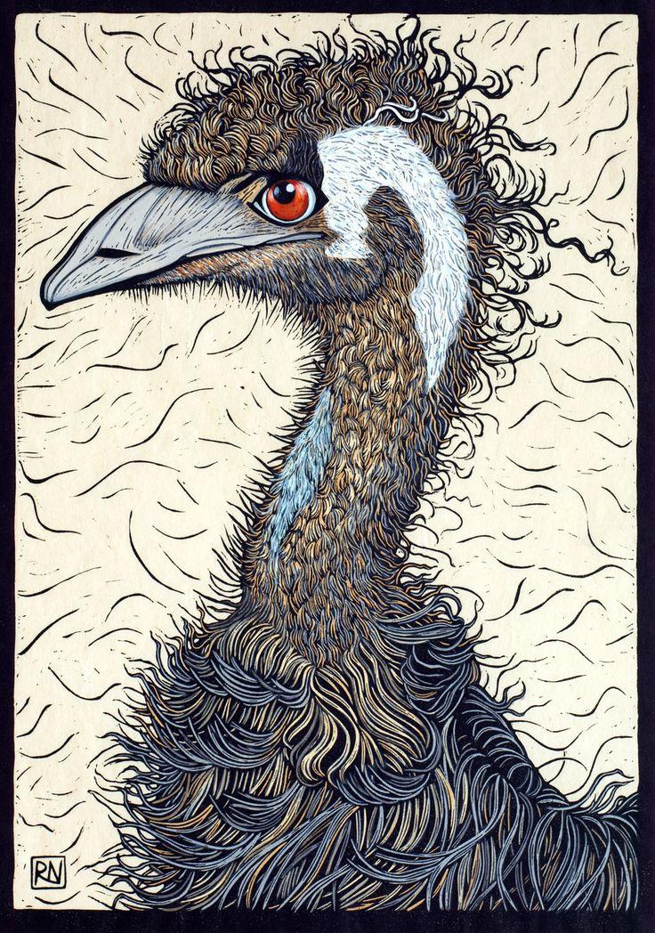Rachel Newling, Australian Printmaker. Emu, Linocut Handcoloured