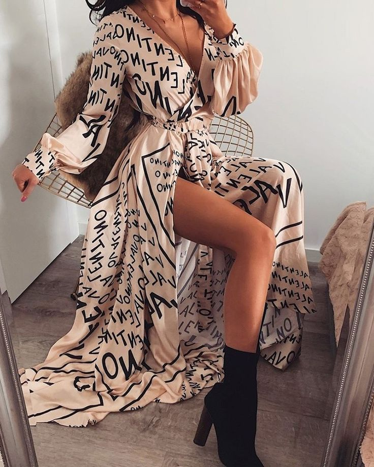 Letter Print V-Neck Thigh Slit Maxi Dress (S/M/L/XL) $30.99