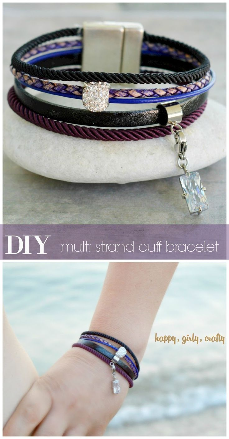 happy girly crafty: DIY : Leather and silk cord multi strand cuff bracelet!
