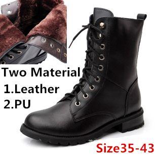 Россия, Зимняя обувь с закругленным носком, мотоциклетные женские сапоги из натуральной кожи, шнурованные, утепленные, бархатные женские зимние сапоги.