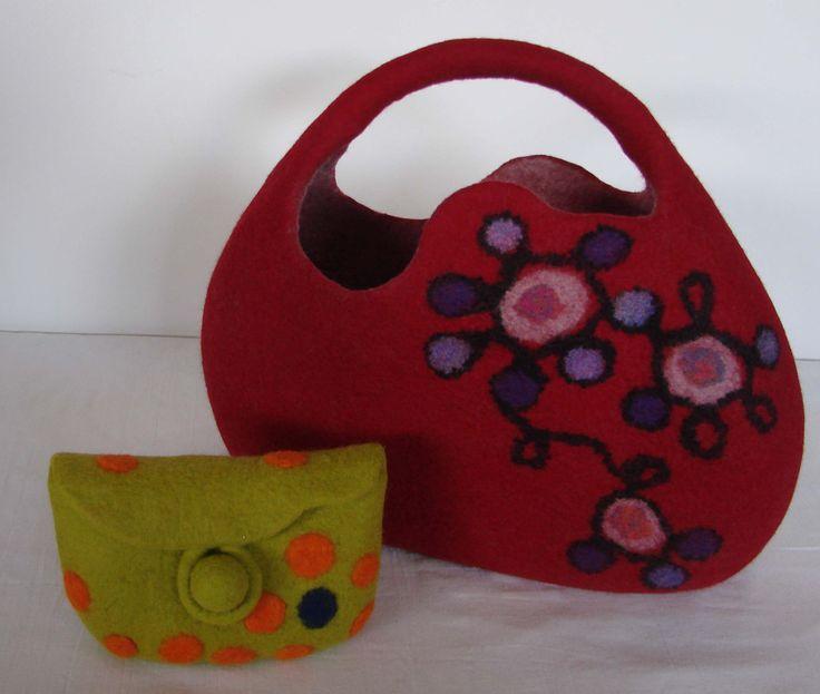 two felt bags made at an inspirational course with Atsuko Sasaki