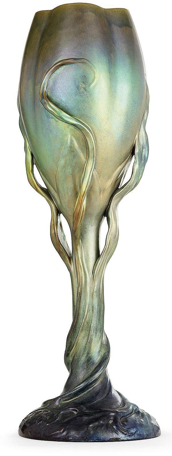 Zsolnay, Pécs, Eosin-Glaze Decorated Earthenware Vase | JV