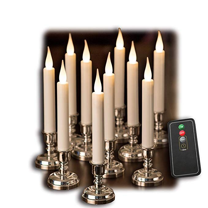 Flameless White Taper Window Candles
