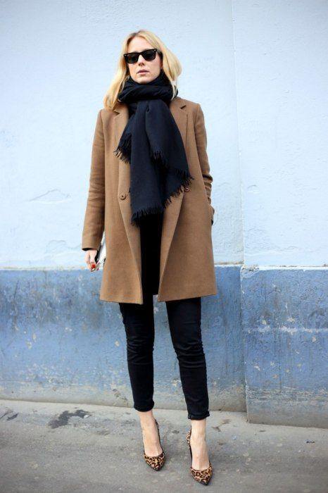 Camel coat, scarf