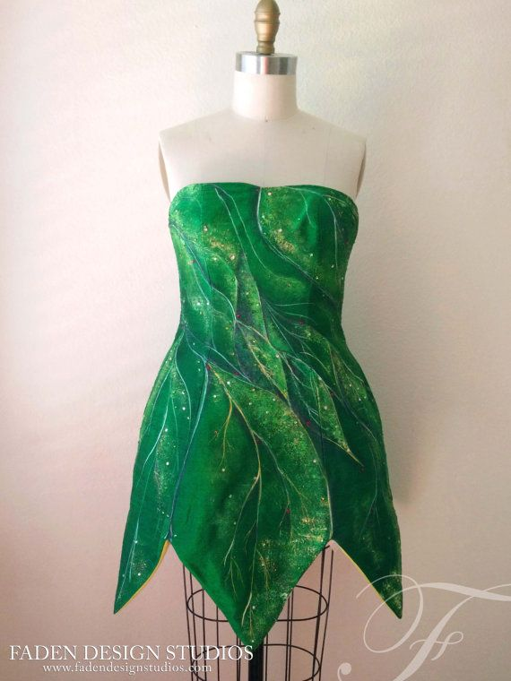 Hand painted Tinkerbell Fairy dress- Cosplay- Made to Order