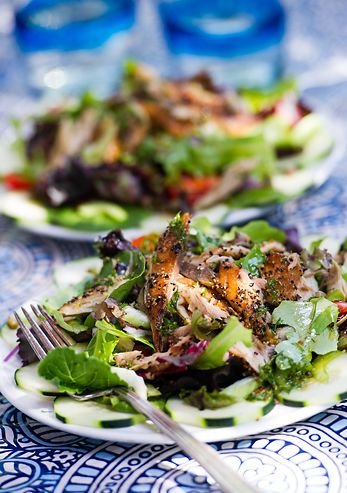 peppered smoked mackerel salad with mustard dill vinaigrette @ monahansseafood.com