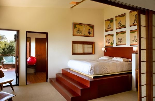 Asian style bedroom design platform bed ideas stairs wall paintings