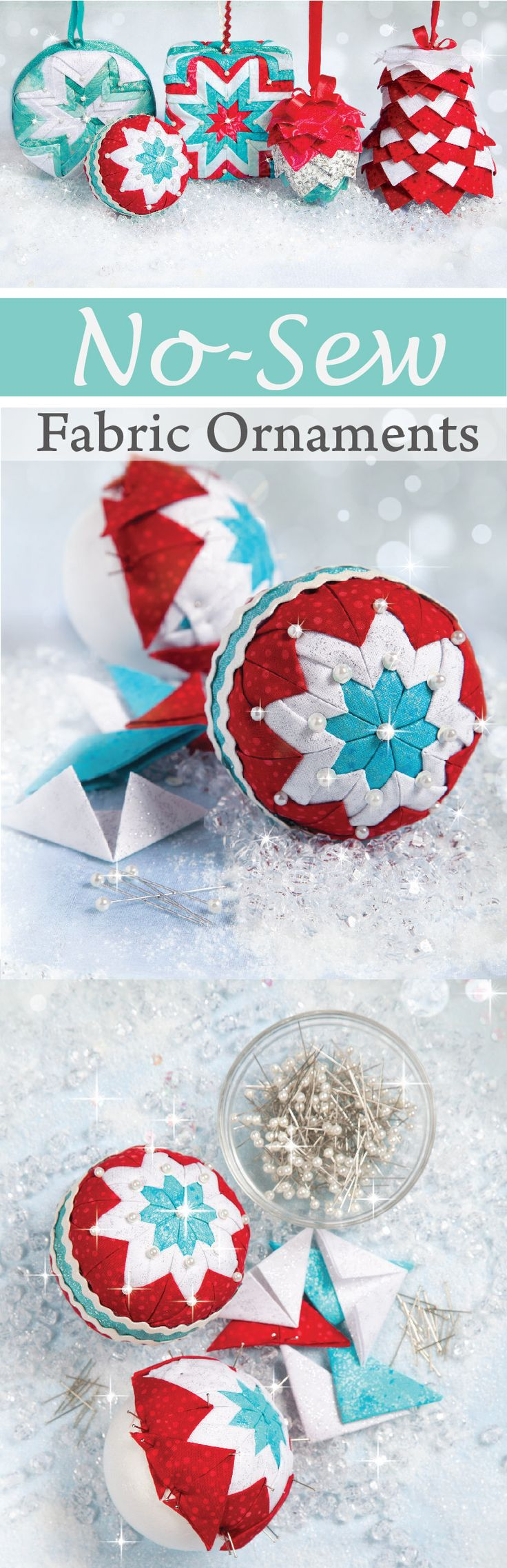 A simple folding method turns fabric scraps into adorable ornaments. Nancy's Notions | Sewing | DIY | Ornaments