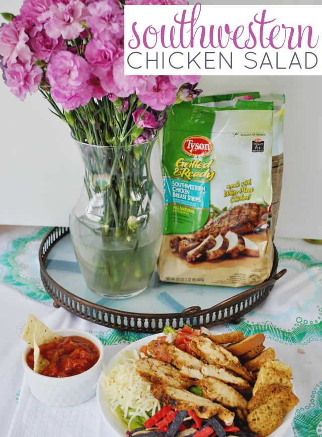 Serve up this Southwestern Chicken Salad using Tyson Grilled and Ready Southwestern Chicken Breast Strips. Top with pico de gallo and verde sauce!