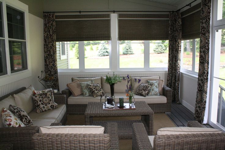 Panels and woven wood blinds create high style for this 3 for 3 season porch furniture