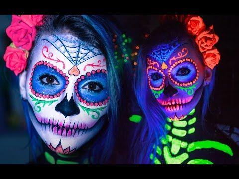 CAVEIRA MEXICANA c/ LUZ NEGRA | Tutorial Maquiagem Artística Passo a Passo (Catrina / Sugar Skull) - YouTube