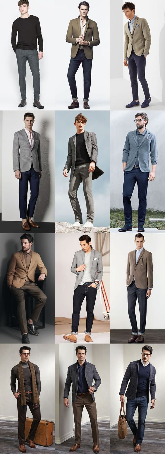 Key Pieces For Autumn Business-Casual : Neutral Colours Chinos, Charcoal/Grey Flannel Suit Trousers, Dark Indigo Wash Jeans Lookbook Inspiration