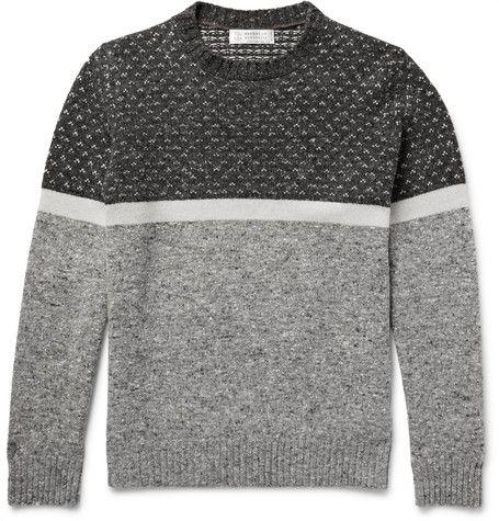 Mélange Panelled Wool, Cashmere and Silk-Blend Sweater   MR PORTER