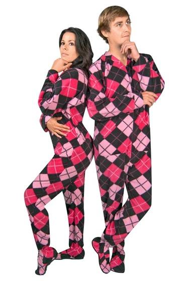 Pink Argyle Polar Fleece Drop Seat Footie Pajamas Cute   8ca5c49f1