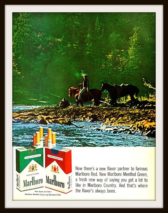 1966 Marlboro Red and Marlboro Green Menthol Cigarette advertisement. Vintage Marlboro Man ad. Vintage cigarette ad. Marlboro Man