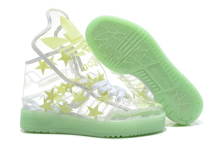 Free Shipping To Buy Adidas X Jeremy Scott Metro Attitude Hi Star Clear Yellow Green With Western Union
