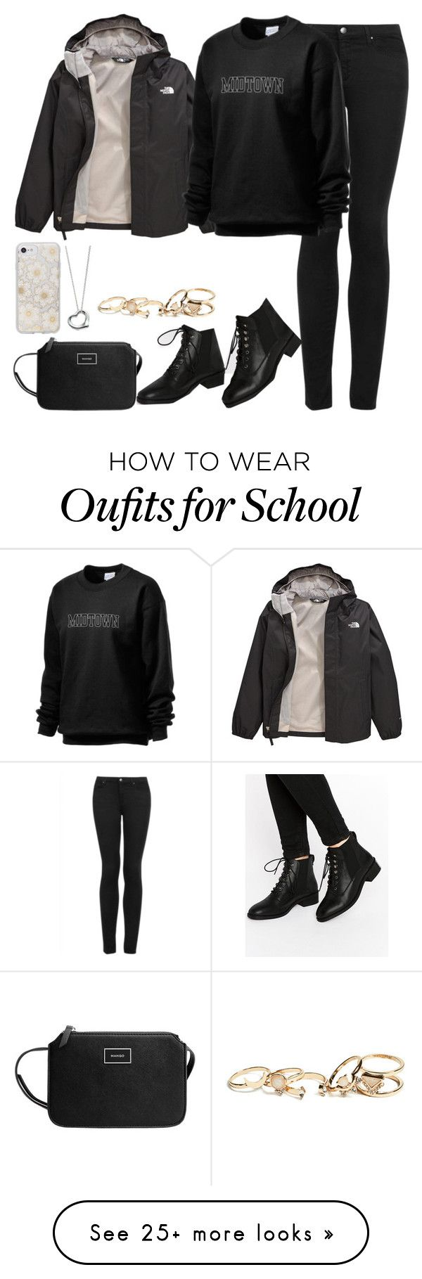 """Untitled #150"" by findthefinerthings on Polyvore featuring Topshop, ASOS, MANGO, Sonix, Elsa Peretti, The North Face and GUESS"