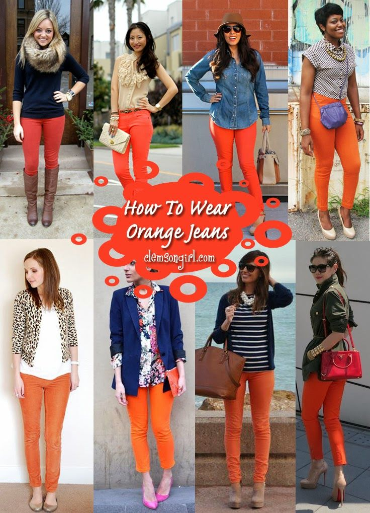 How To Wear Orange Jeans Purple Fashion Inspiration Pinterest Pants And