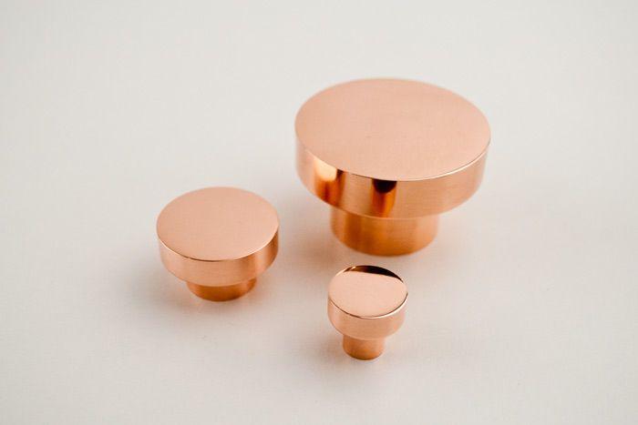 Copper furniture pull DOT 50 diam, copper B&B Sweden, Bäccman & Berglund Sweden