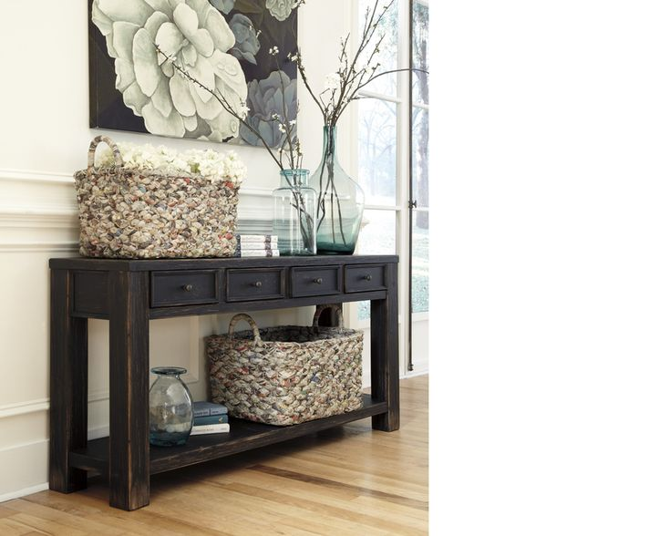 T732-4 ASHLEY FURNITURE SOFA TABLE SOFA TABLE GAVELSTON BLACK OCCASIONAL|Parks Furniture