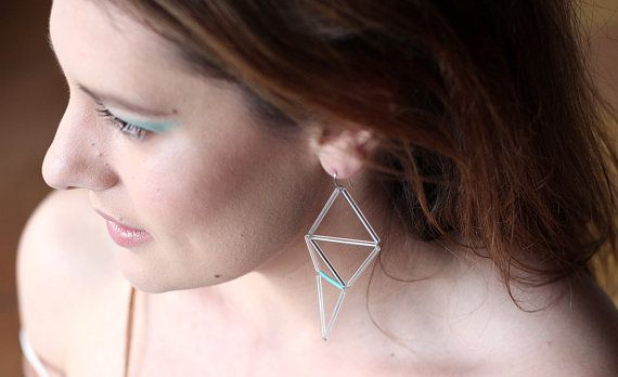 "Edgy geometric himmeli inspired earrings made with clear and turquoise glass bead. Minimal yet powerful.    In the collection ""Networks"" I use excellent"