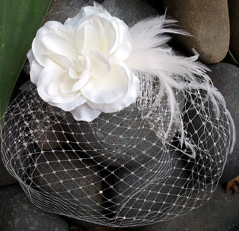 white or ivory mini veil with flower By Margot Ardern Designs