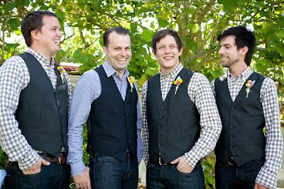 Wedding groom groomsmen jeans vests patterned shirts casual