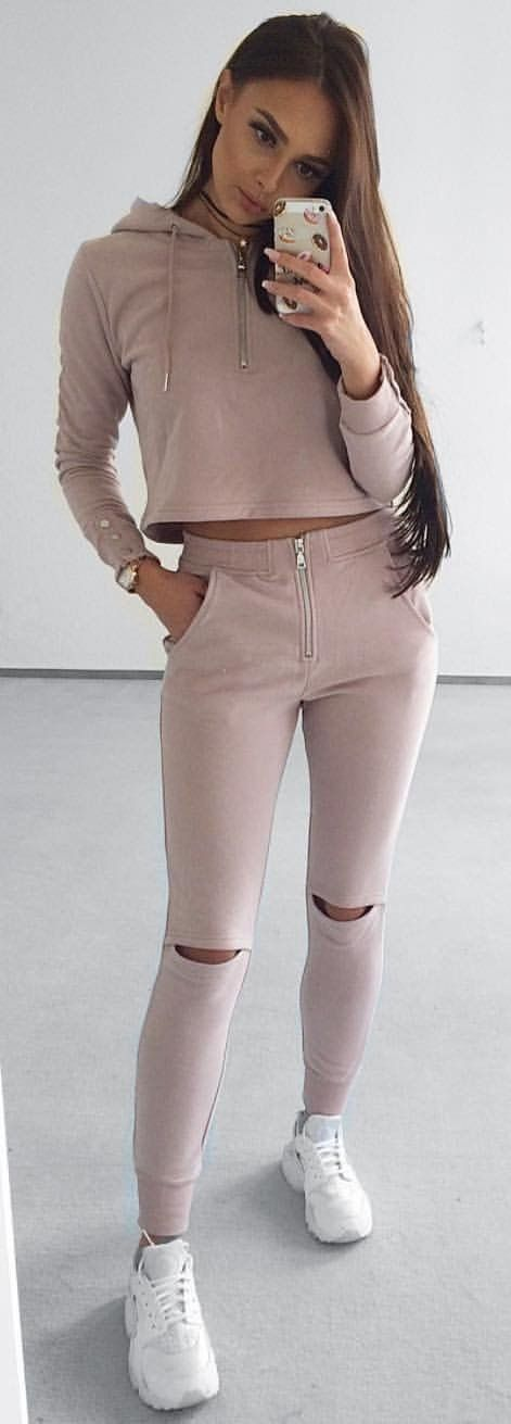 #winter #outfits beige pullover hoodie and gray denim jeans