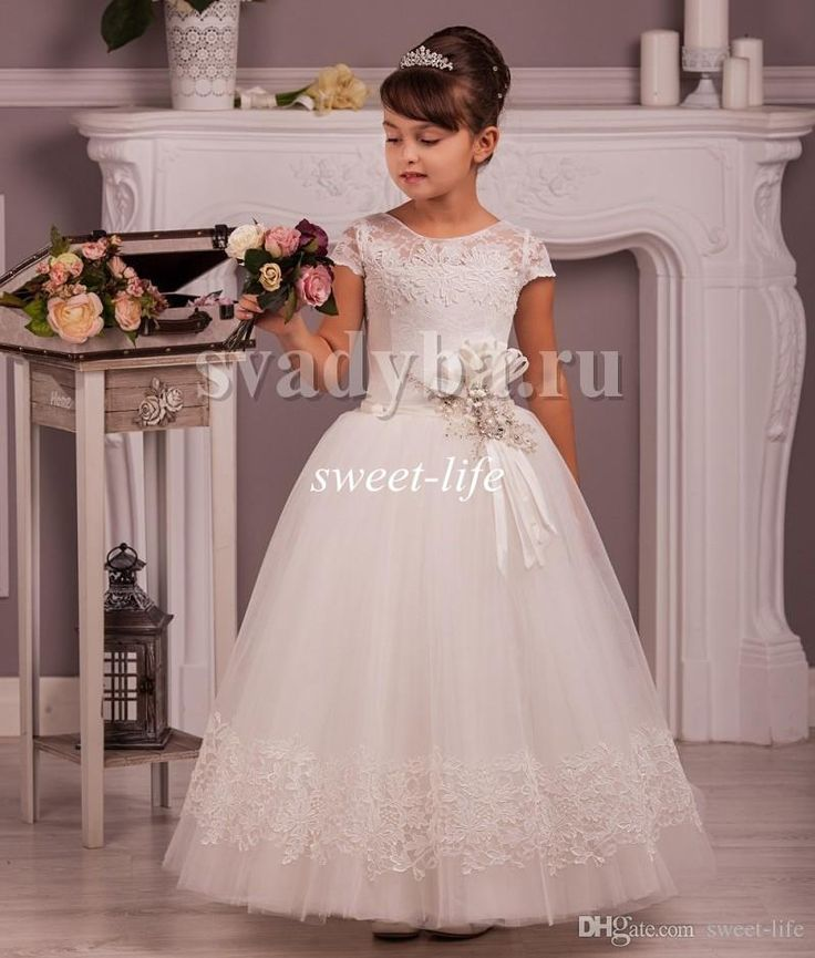 2016 Cheap Lace Flower Girl Dresses Vintage Cap Sleeves Tutu Beaded Sash Jewel Neck Custom Made Little Baby Party Birthday Communion Dresses Online with $80.11/Piece on Sweet-life's Store | DHgate.com