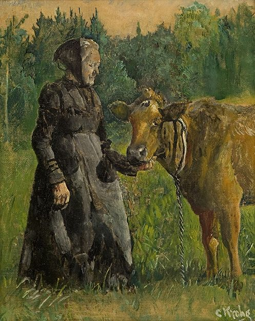 Christian Krohg 1852-1925: Woman and Cow