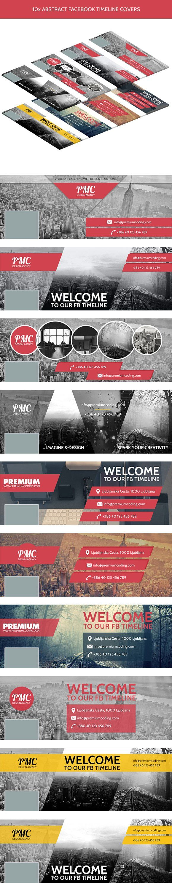 10 Abstract Timeline Cover Templates by PremiumCoding on @creativemarket