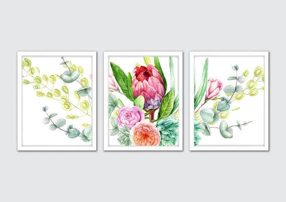 Watercolor Protea Flowers Roses Eucalyptus by MintArtStudio