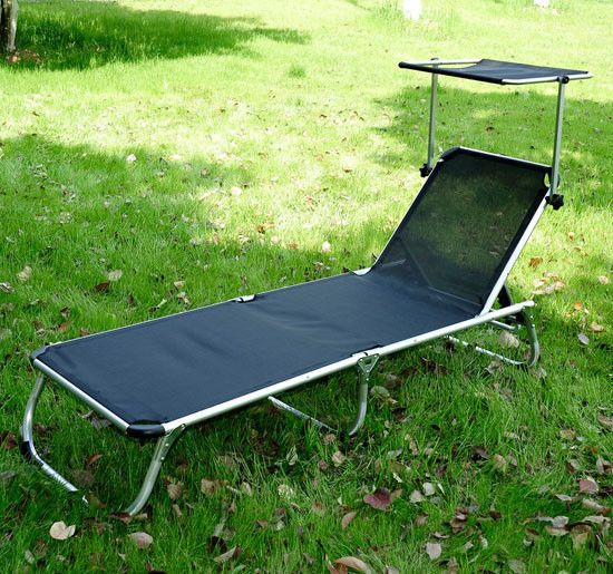 Outdoor Folding Reclining Beach Patio Chaise Lounge Chair Pool Lounger W/Shade #Outsunny