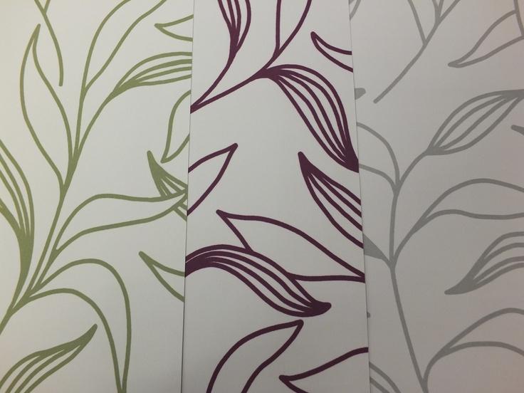 Fabrics Lily. Olive, Aubergine, Taupe.