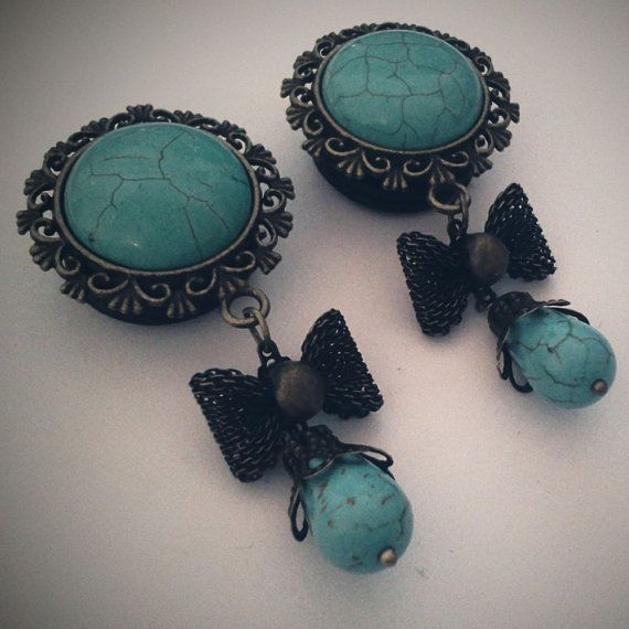 3/4 inch 19mm Turquoise Howlite Dangly Plugs    by Glamsquared, $34.00