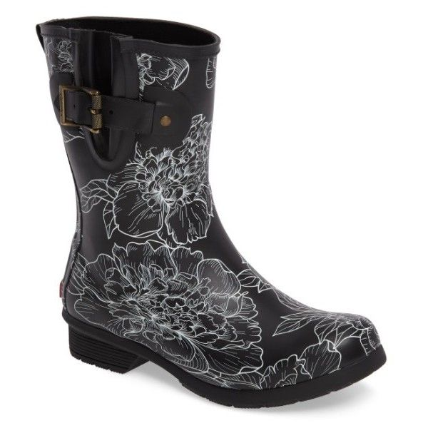 Women's Chooka Cora Mid Rain Boot (4.680 RUB) ❤ liked on Polyvore featuring shoes, boots, black, wellies boots, black wellington boots, black boots, lined rain boots and rain boots