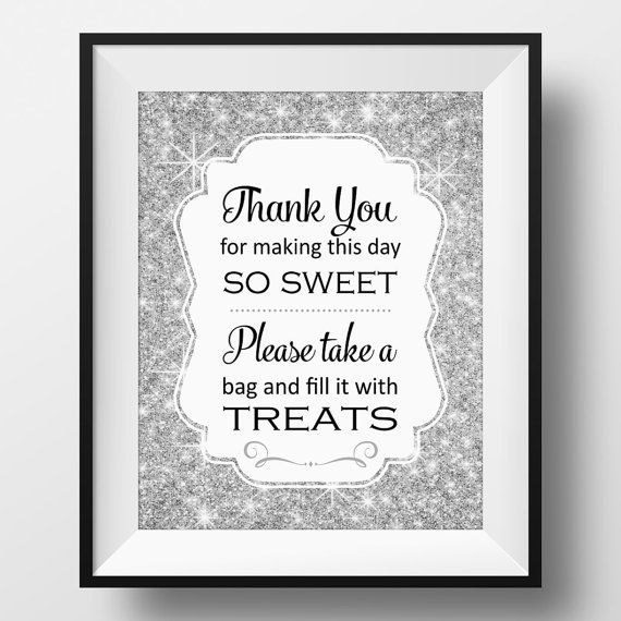 This Silver Sparkly Printable Candy Buffet Sign Will Be The Perfect Compliment To Bar At Your Wedding Birthday Bridal Shower Or Baby